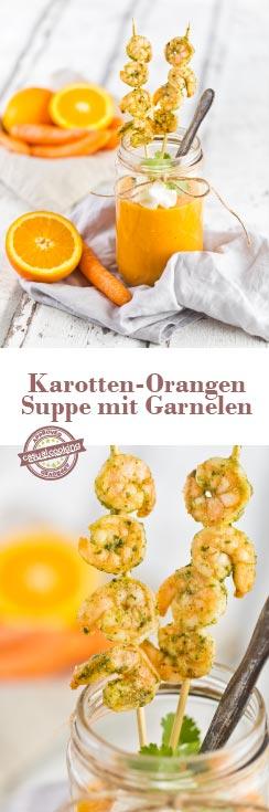 Karotten-Orangen Suppe mit Garnelen und Kürbiskernöl ist schnell gezaubert und schmeckt herrlich erfrischend durch die Süße der Orangen